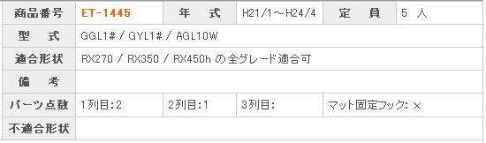 レクサス RX 商品番号 ET-1445 年  式 H21/1〜24/4 定  員 5人  型  式 L10系  適合形状 RX270 / RX350 / RX450h の全グレード適合可